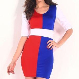 Stylish Sexy Multicolor Blocking Bodycon Dress